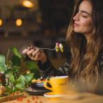 woman enjoying dinner
