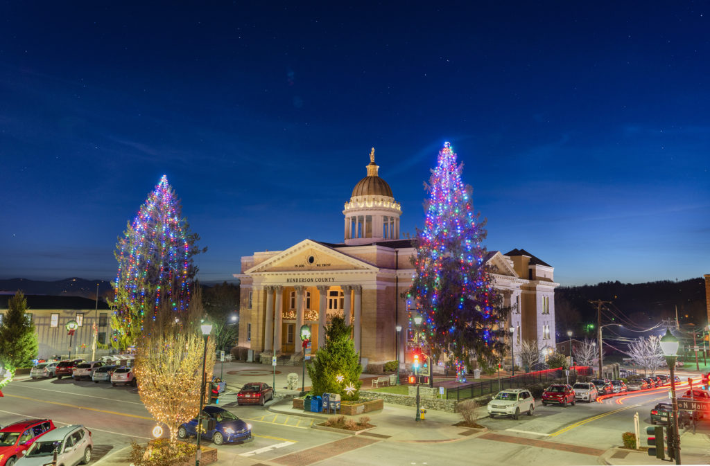 Downtown Hendersonville at Christmas time